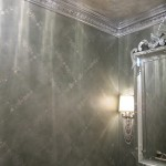 Antiqued walls with silver leaf design. Stern residence.