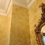 Metalic gold and yellow floral wallpaper finish. Rusnak residence.