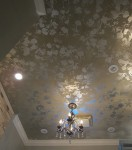 Antique ceiling with silver leaf design. Residence of Paula and Bill Roberts.
