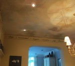 Sky ceiling with a hand painted border. Residence of Paula and Bill Roberts.