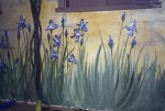 Irises for a the exterior of a garage.