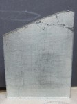 Stencilled glass, distressed and antiqued