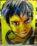 Indian boy painting on glass